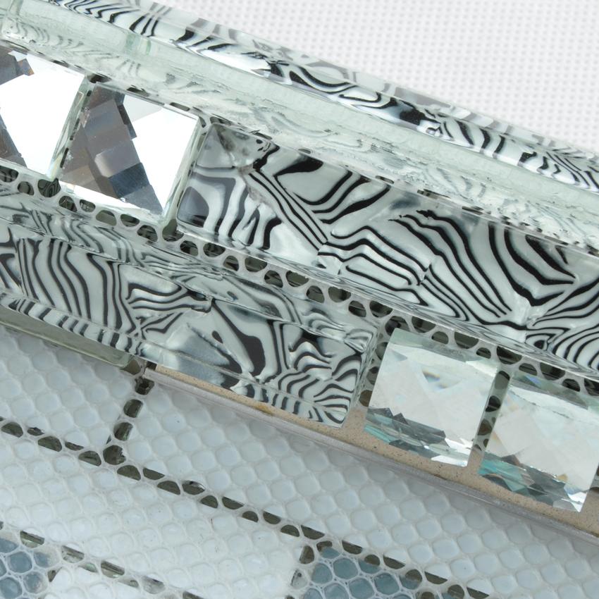 Glass And Stainless Steel Tile Silver Metal Backsplash