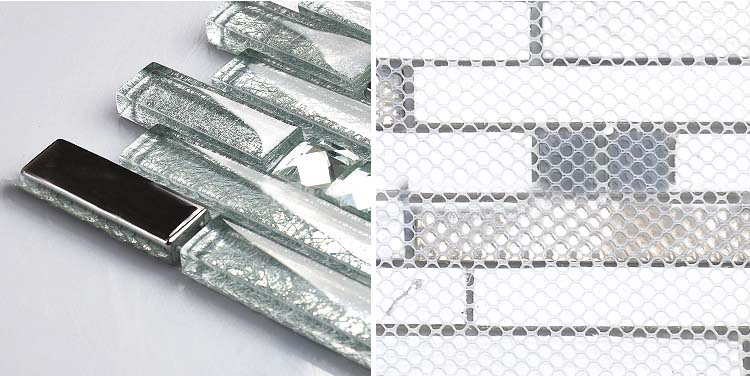 back of the crystal glass tile plated design-wall-backsplash-mesh mounted tiles - blh016