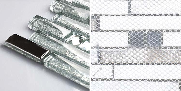 Back Of The Crystal Gl Tile Plated Design Wall Backsplash Mesh Mounted Tiles