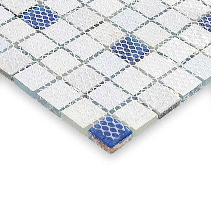 Glass mosaic tile kitchen backsplash crystal glass tile for Installing glass tile with mesh back