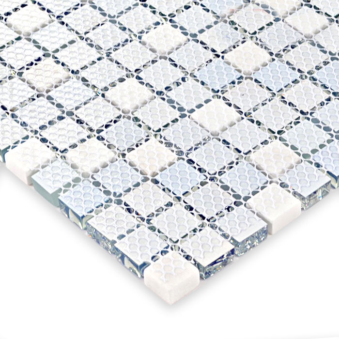 Glass mosaic tile white marble stone mosaic glass mosaic for Installing glass tile with mesh back