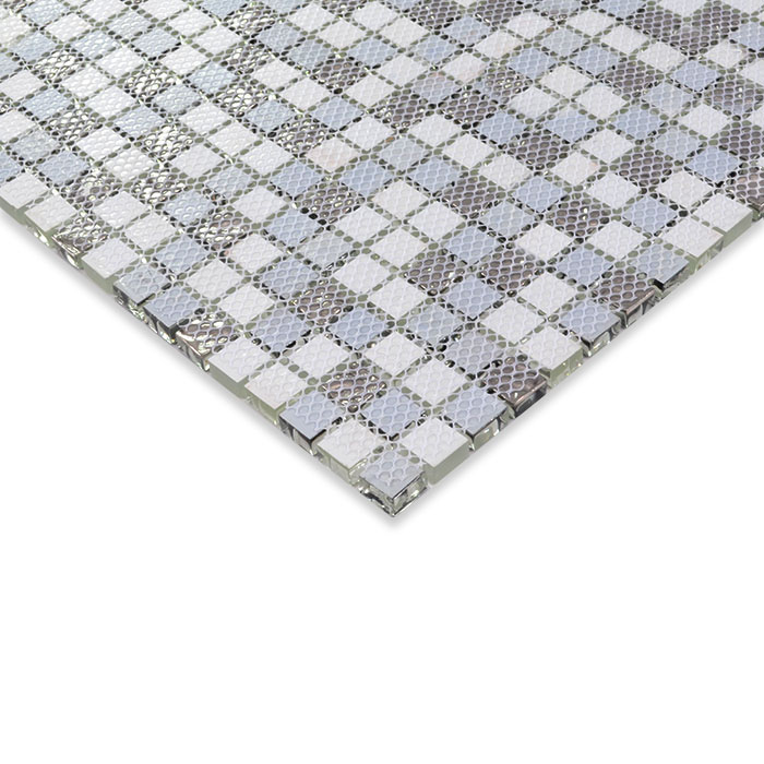 Black and white glass mosaic tile glossy glass wall tile for Installing glass tile with mesh back