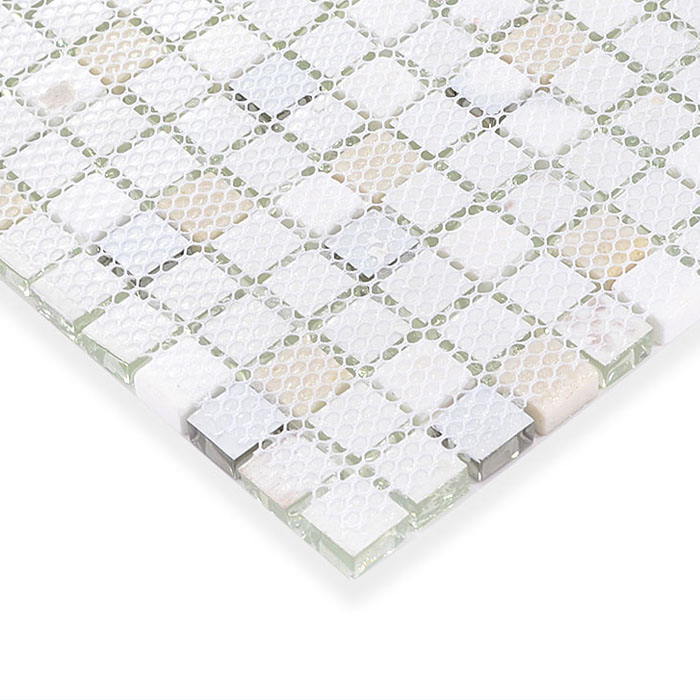 Glass and stone mosaic silver glass tiles for Installing glass tile with mesh back