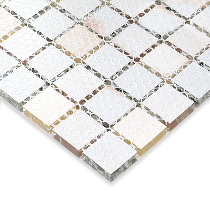 Crackle glass mosaic tile kitchen tile backsplash for Installing glass tile with mesh back