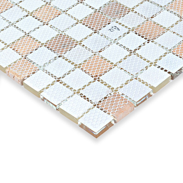 Glass stone mosaic tiles yellow glass mix stone mosaic for Installing glass tile with mesh back