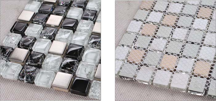 back of the metallic mosaic tile crack glass stainless steel - ks33