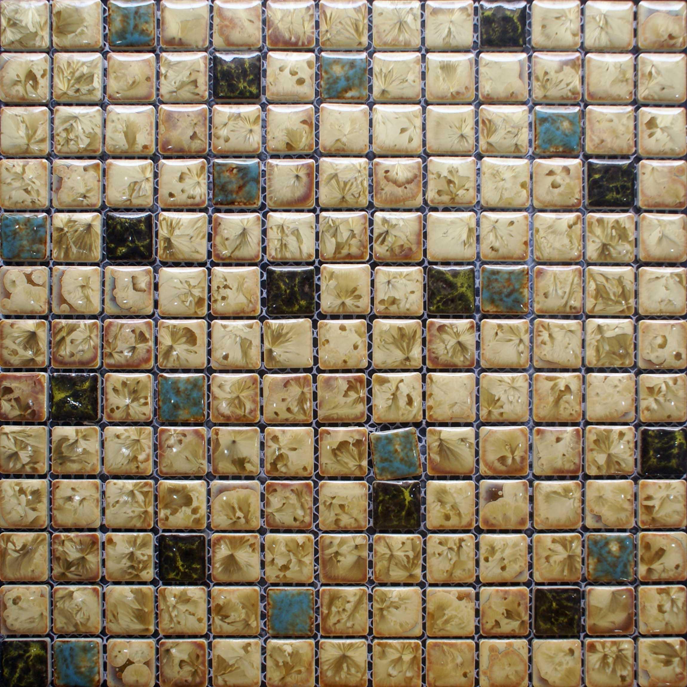 Backsplash tile porcelain mosaics bathroom wall stickers hs0037 - Blue And Whtie Porcelain Mosaic Tile Kitchen Backsplash