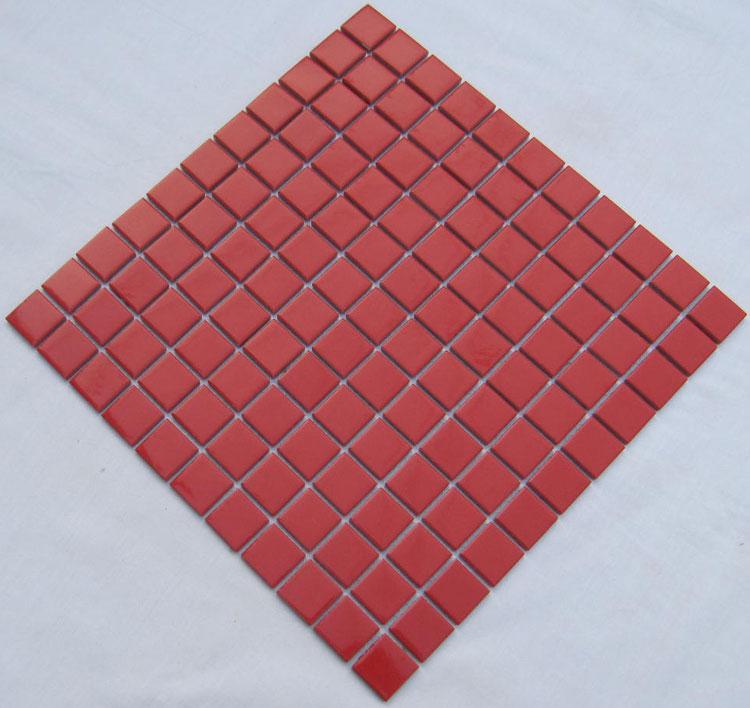 Glazed Porcelain Square Mosaic Tiles Design Red Ceramic Tile