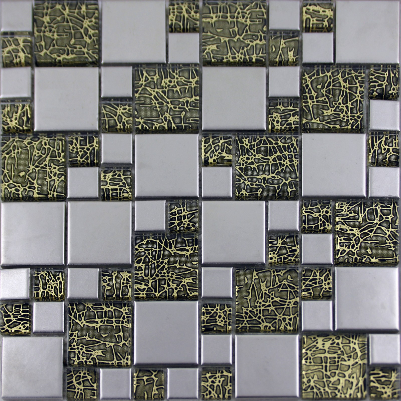 Silver Kitchen Wall Tiles: Silver Porcelain Square Mosaic Tile Designs Crystal Glass