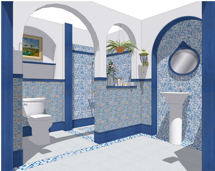 stone glass blend mosaic wall tile