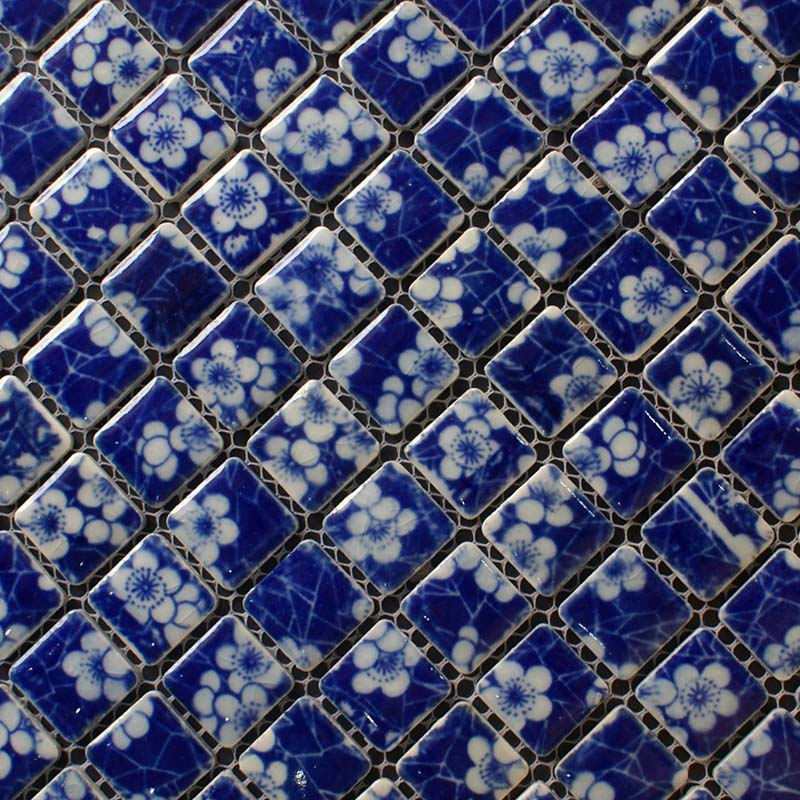 blue and whtie porcelain mosaic tile kitchen backsplash - adt110