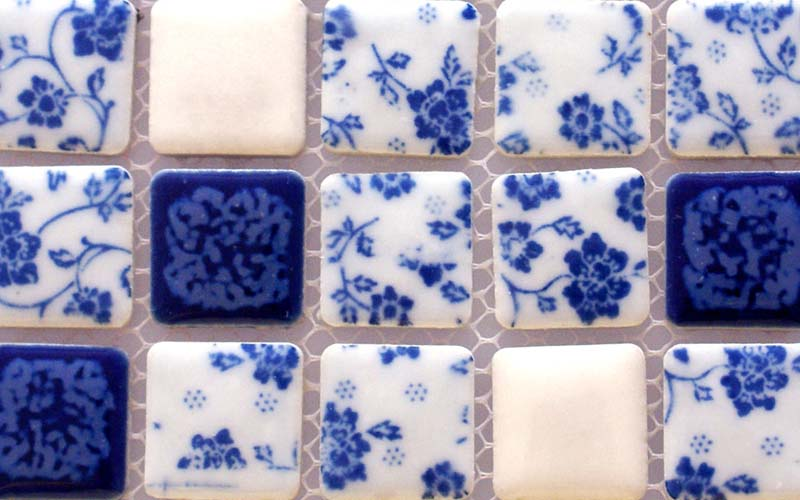 Front Side Of Blue And White Porcelain Wall Tile