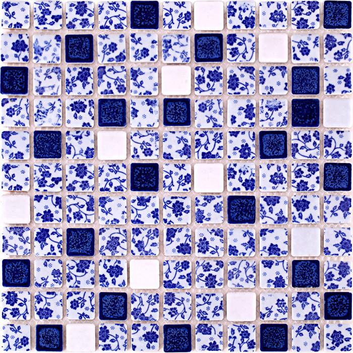 Blue And White Tile Glossy Porcelain Mosaic Bathroom Tiles