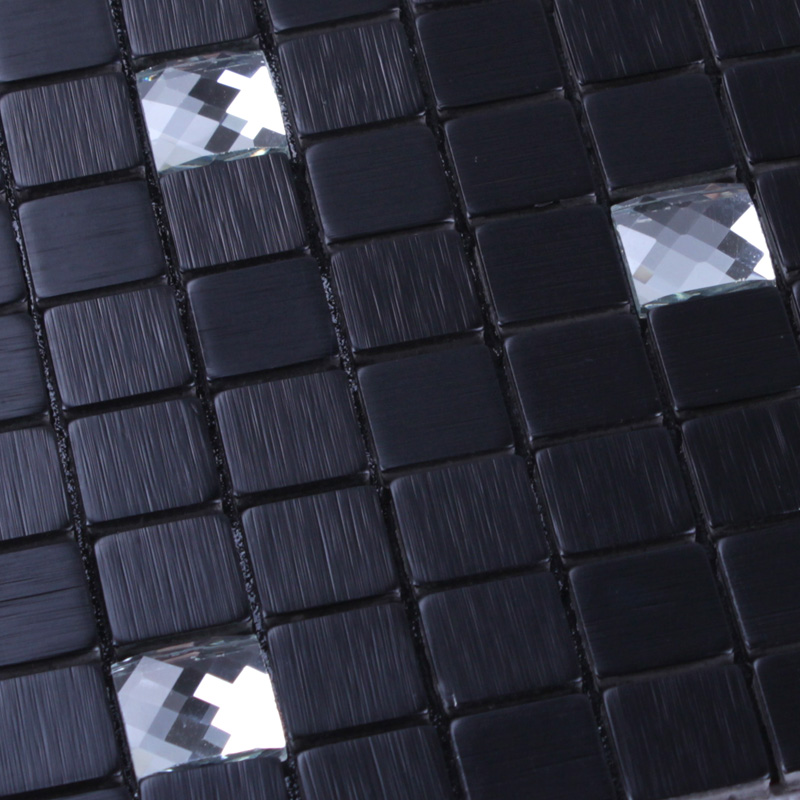 black 304 stainless steel metal diamond glass moasic tile