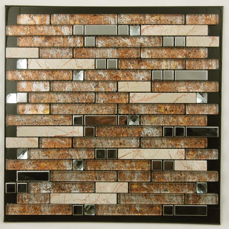 Metal And Glass Diamond Stainless Steel Backsplash Wall Tiles Brown Crystal Glass Mosaic Interlocking Tile Yb2021