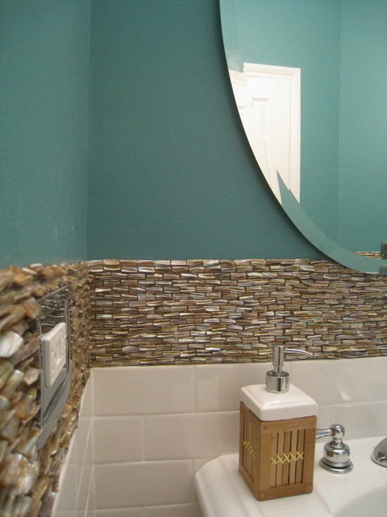 mother of pearl tiles for bathroom mirrored wall backsplash