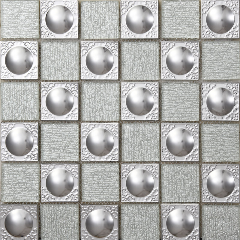 Metal Backsplash Tiles Stainless Steel Backsplash Silver Crystal ...