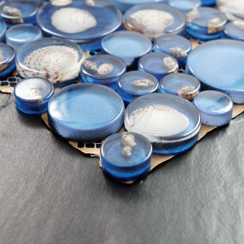 Blue Mosaic Tile Resin Glass Conch Tile Backsplash Pebble
