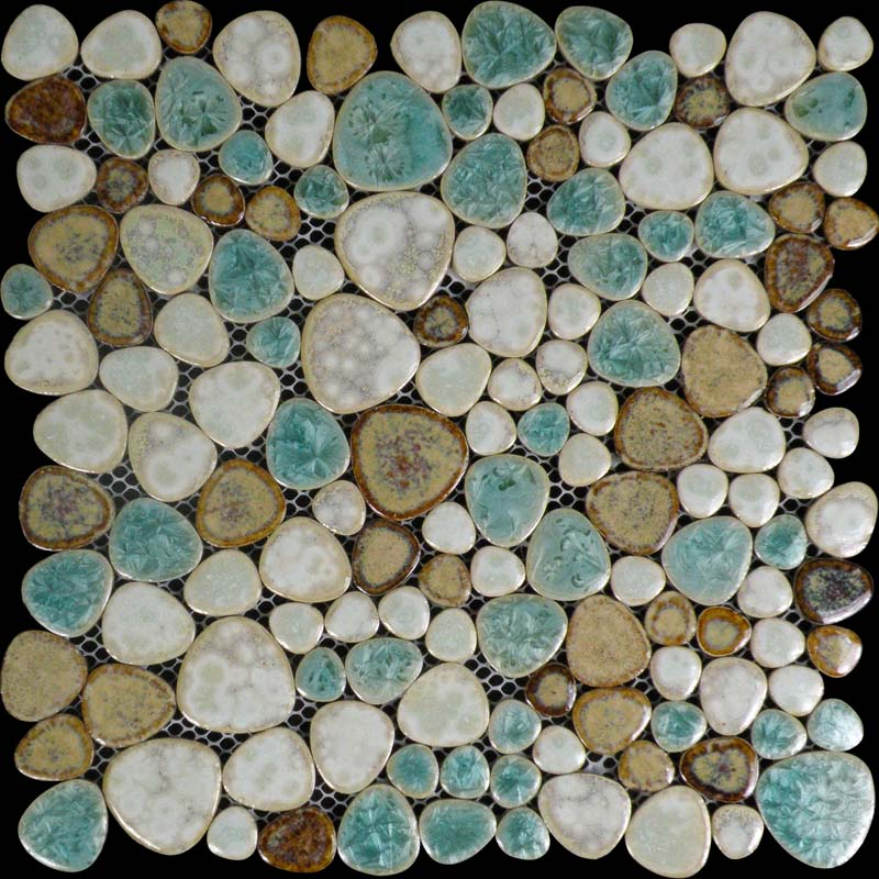 Porcelain Tile Pebbles Random Bricks Glazed Ceramic Mosaic