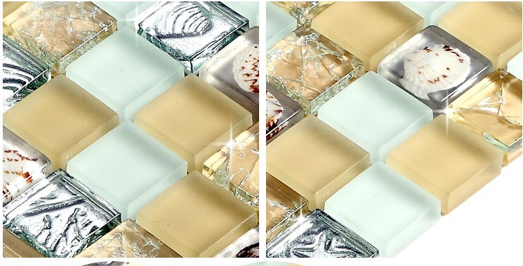 crystal crackle glass plated tile shell mosaic wall tiles -s169