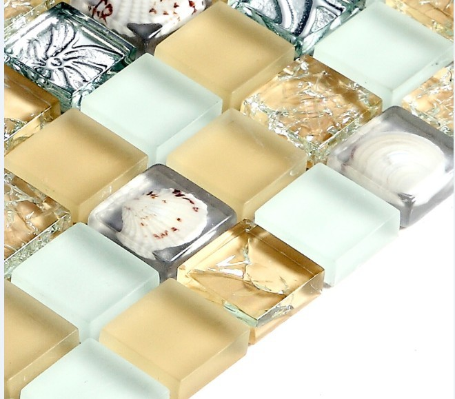 crystal crackle glass tile vitreous plated mosaic shell wall tiles - s169