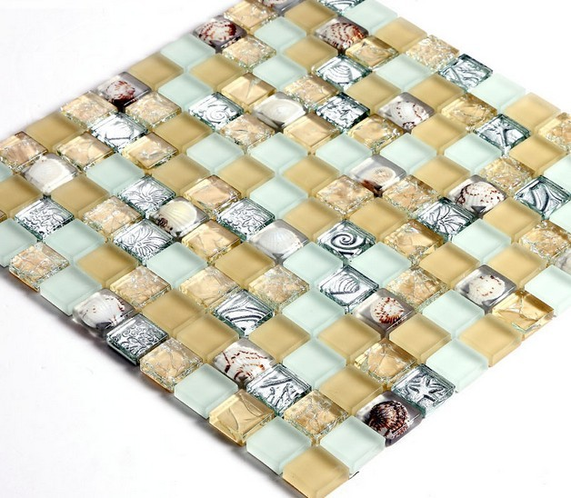 crystal crackle glass tile plated mosaic shell wall tiles - s169