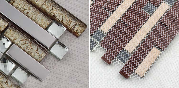 crystal glass metal blend tile mosaic mesh mounted -1628