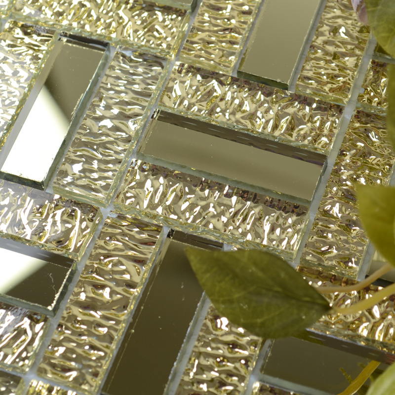 Glossy Glass Mirror Tile Kitchen Backsplash Random Wave Patterns Gold