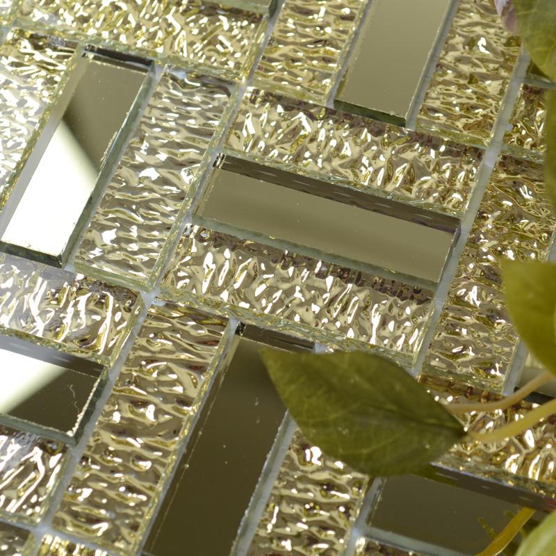 Glossy Glass Mirror Tile Kitchen Backsplash Random Wave