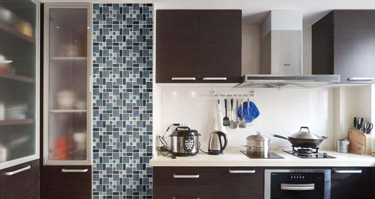 crystal glass mosaic tile kitchen backsplash - kl785