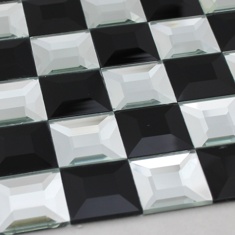 crystal glass tile black and white vitreous mosaic wall tiles -kl923