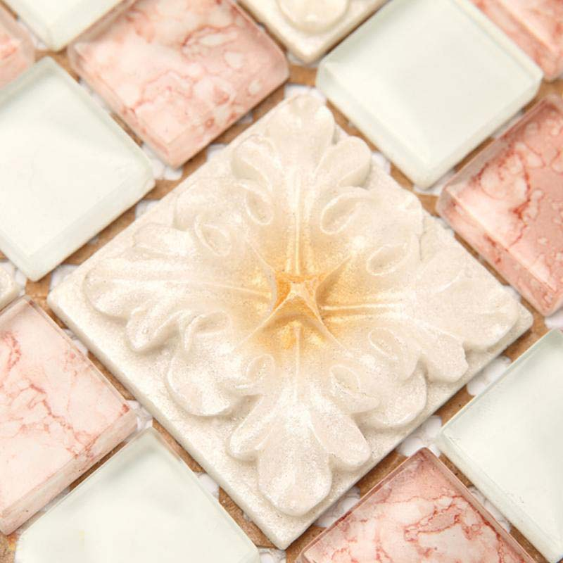 Wholesale Mosaic Tile Crystal Glass Backsplash Bedroom Design Bathroom Wall Floor Pink Tiles