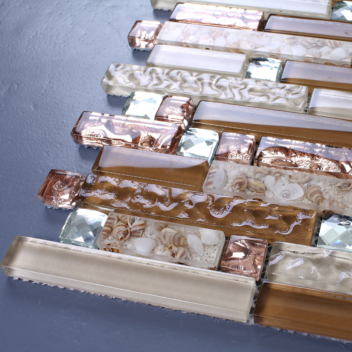 crystal glass tile plated mosaic wall tiles -ks183