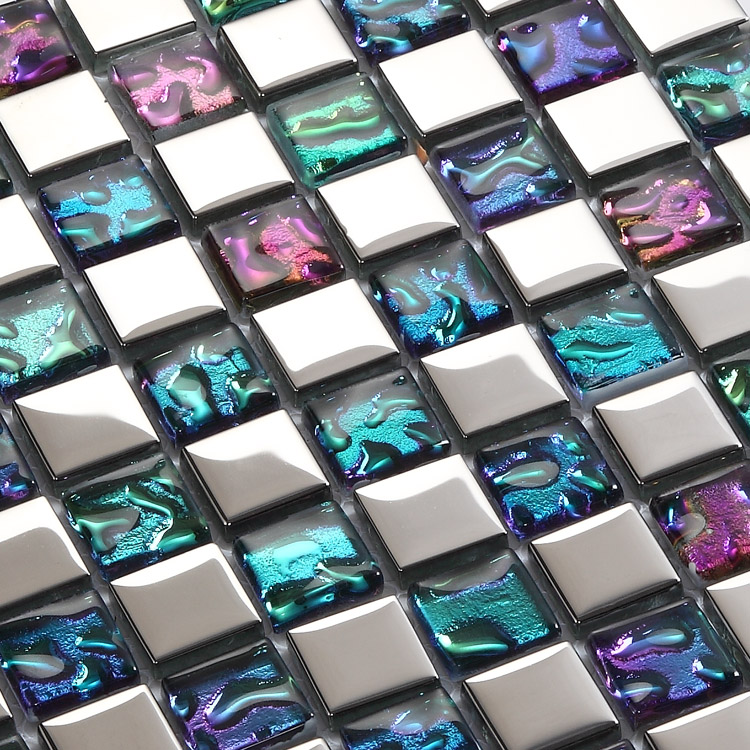 Clear Crystal Mosaic Sheet Silver Plated Glass Wall Tile ...
