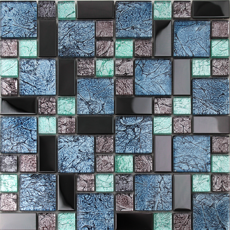 Crystal Glass Tile Backsplash Black Stainless Steel With Base Meta Mosaic Tat