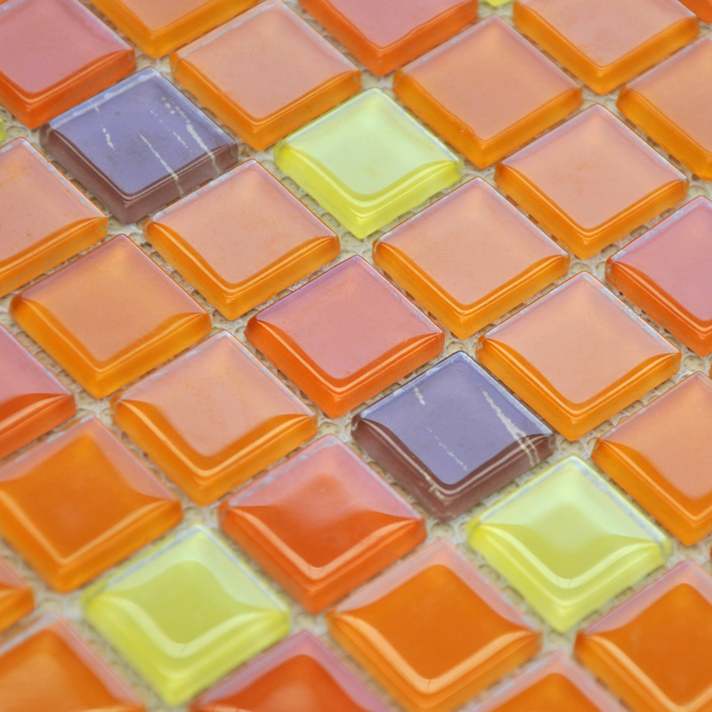 Crystal Glass Mosaic Tiles Kitchen Backsplash Design