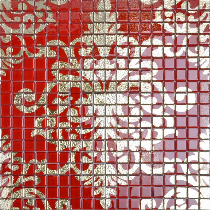 Crystal Glass Tile Red Puzzle Mosaic Tile Murals Crystal