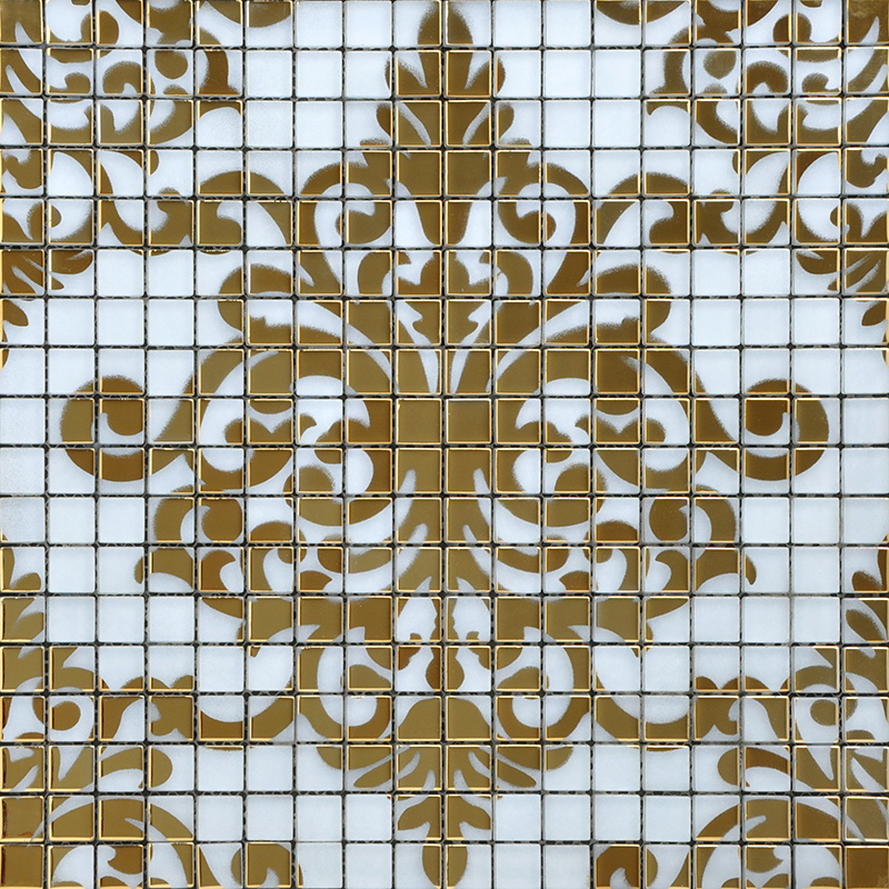 Crystal Glass Tile Gold Mosaic Collages Design Interior Wall Tile Murals Bath