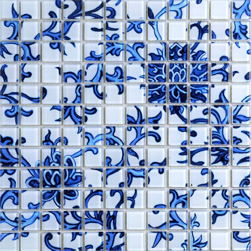 Crystal Glass Tile Blue Amp White Puzzle Mosaic Tile Crackle