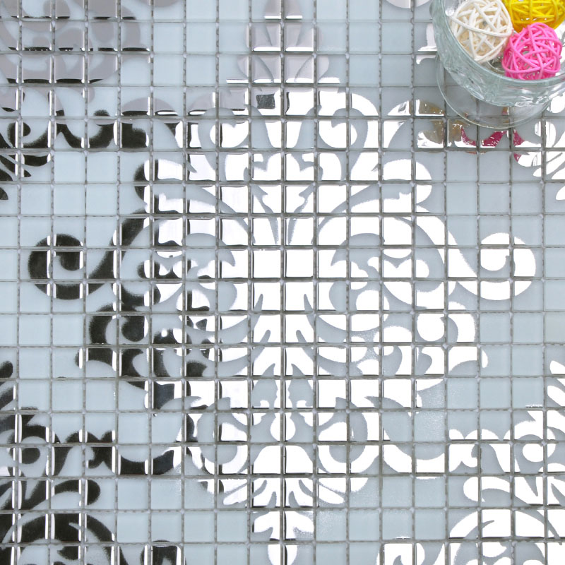 Mosaic Murals White And Silver Glass Plated Wall Decoration 3 5 Small Tile Squares