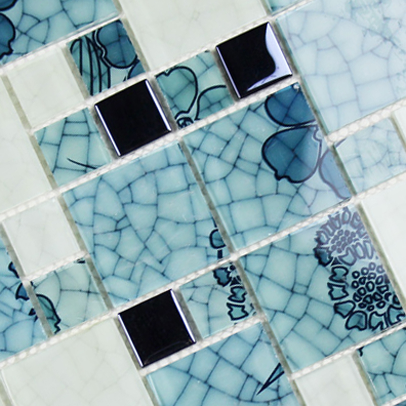 Crystal Glass Mosaic Kitchen Tiles Washroom Backsplash Bathroom Blue ...