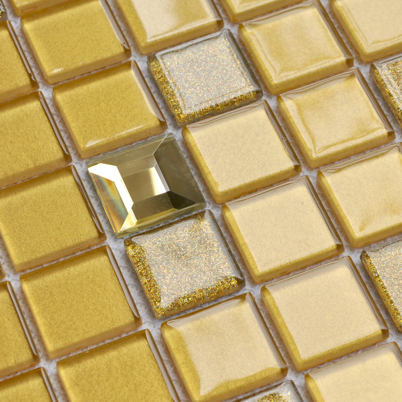 Crystal Glass Mosaic Tiles Washroom Backsplash Prymid Gold