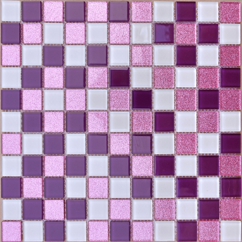 White and purple backsplash powder pink bathroom tile for Mosaic salle de bain