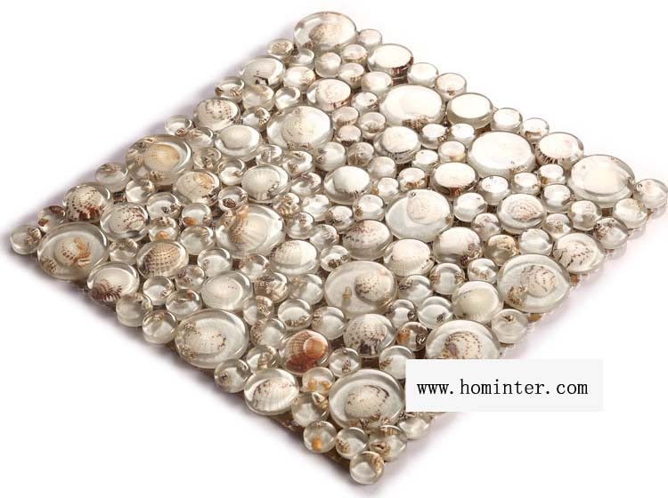 crystal pebble glass tile vitreous mosaic shell wall tiles - 619