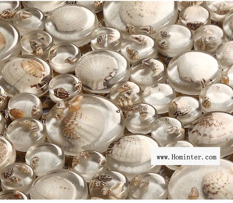 crystal pebble glass tile plated mosaic shell wall tiles - 619