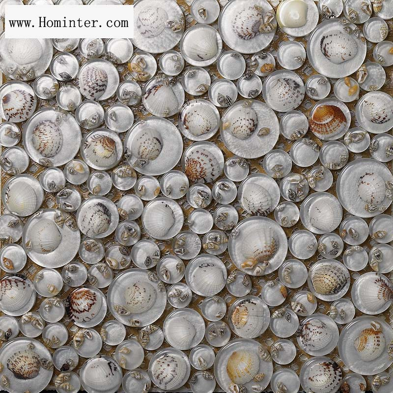 crystal pebble glass tile shell mosaic wall tiles - 619