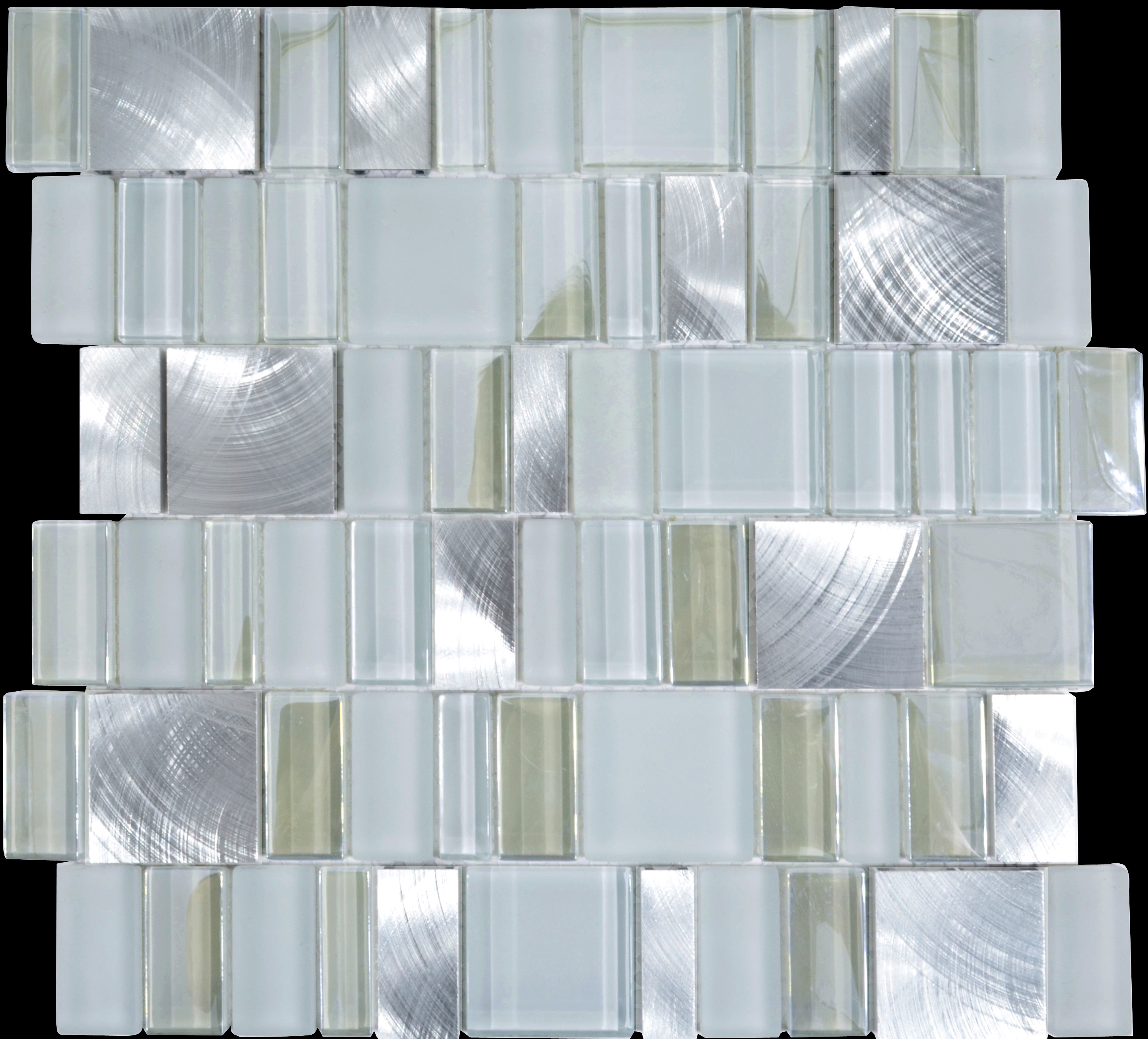 Metal and Glass Tile Backsplash Cheap Brush Aluminum Tiles Crystal ...