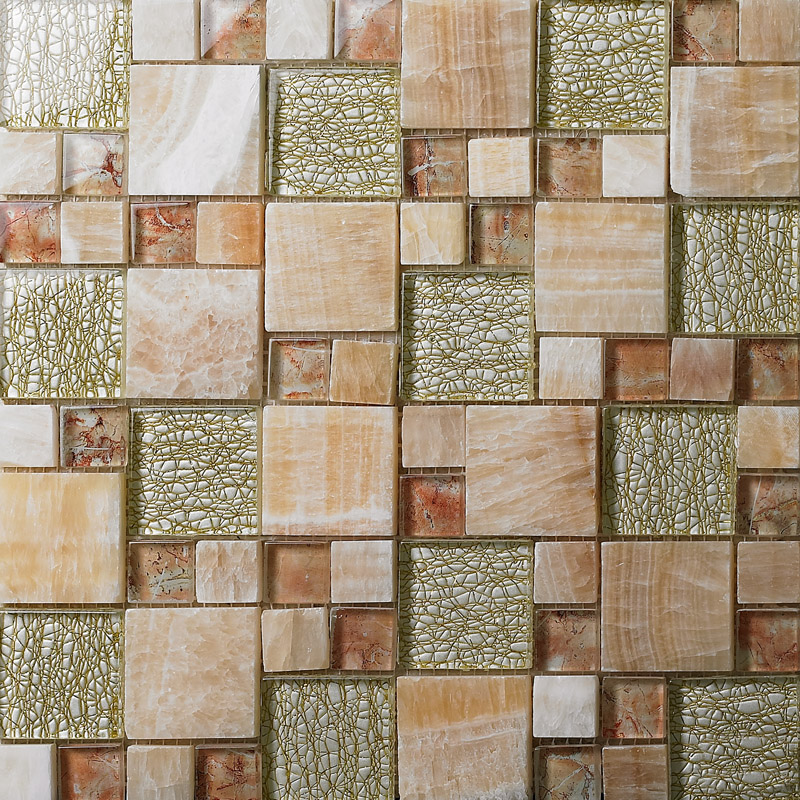 Stone and glass mosaic sheets square tiles natural marble for Muestras de azulejos