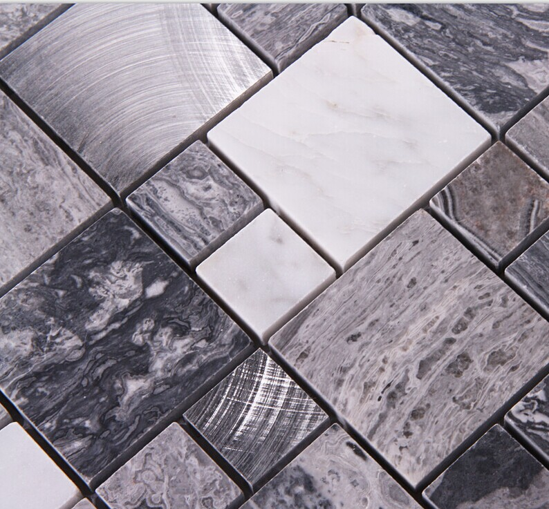 Stone Mosaic Tile Square Grey Marble Floor Tiles Metal And Stone