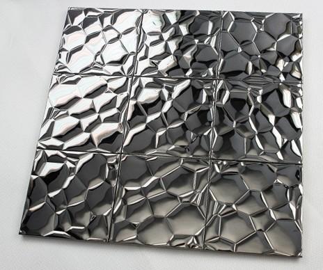 metallic mosaic tile glossy metal tile brick bathroom wall. Black Bedroom Furniture Sets. Home Design Ideas